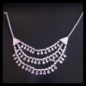 Statement 3 layer necklace on silver color